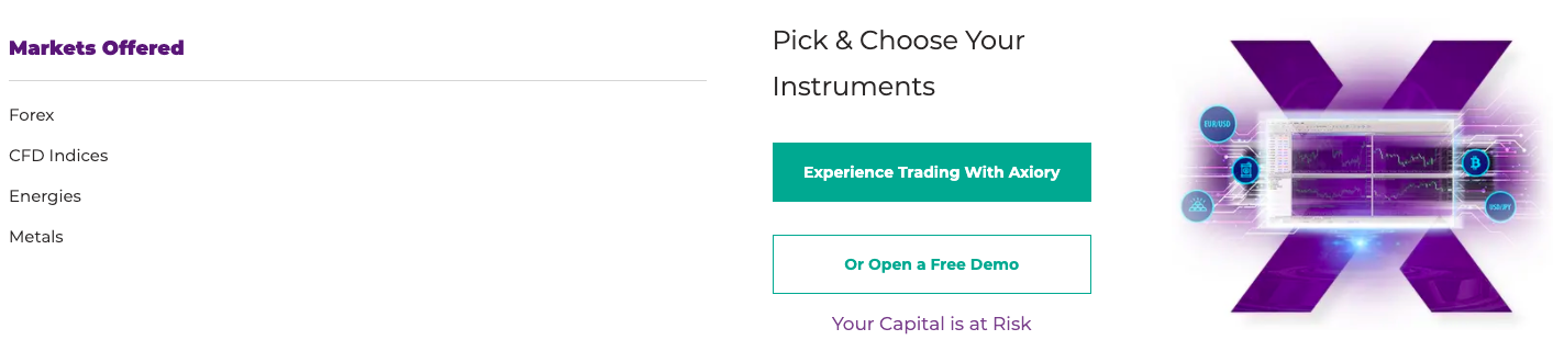 Axiory trading instruments review