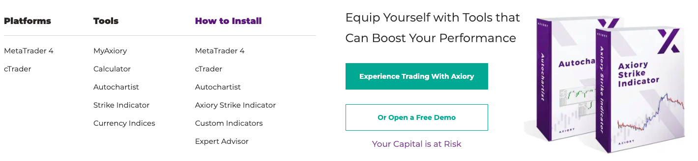 Axiory trading platforms review